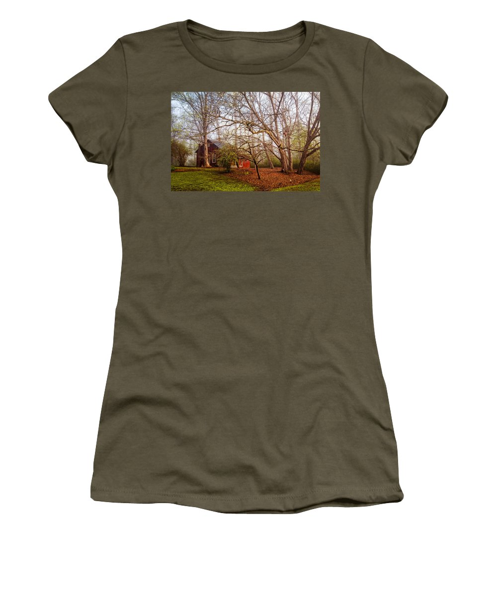Appalachia Women's T-Shirt featuring the photograph Red Barn In The Smokies by Debra and Dave Vanderlaan