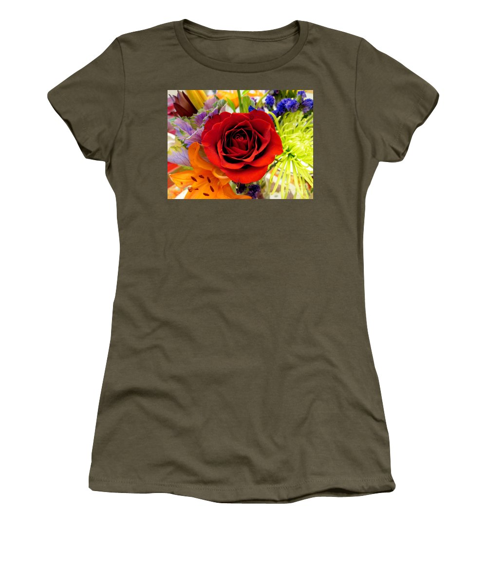 Rose Women's T-Shirt featuring the photograph Red Beauty by Nancie DeMellia
