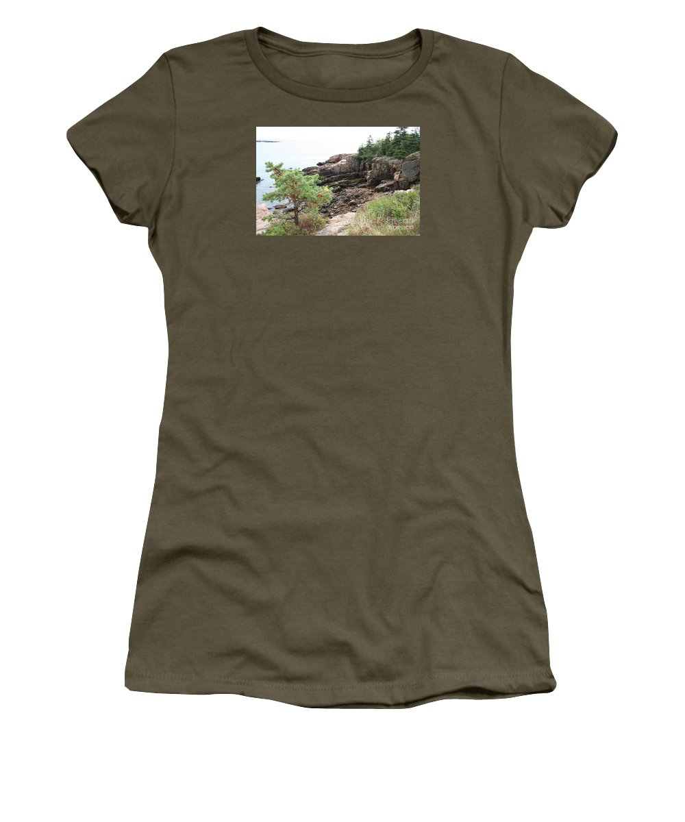 Red Cliffs Women's T-Shirt featuring the photograph Red Cliffs Of Acadia by Christiane Schulze Art And Photography