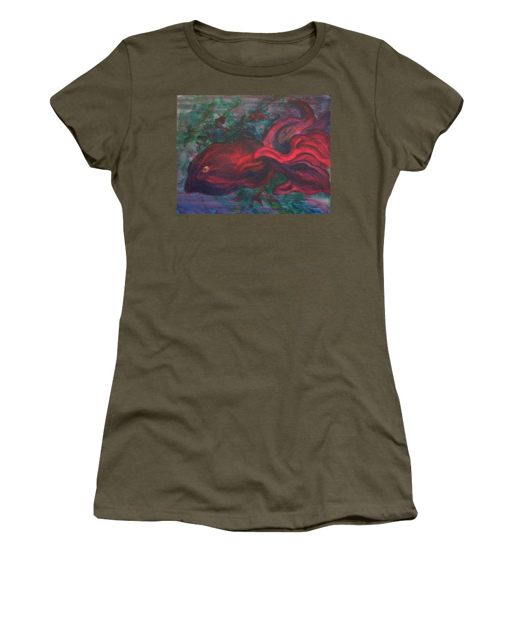 Red Women's T-Shirt featuring the painting Red Fish by Sheri Lauren