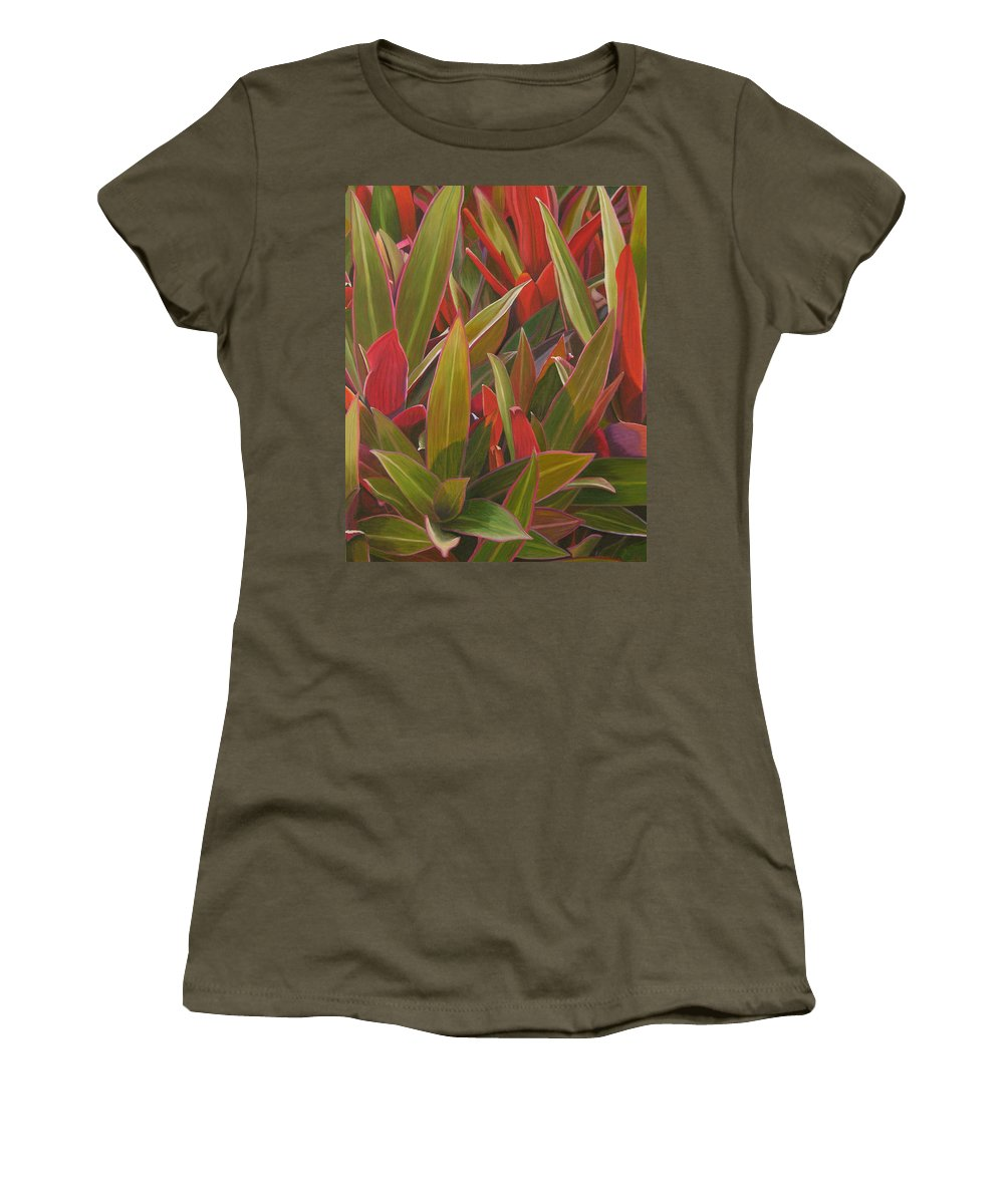 Plants Women's T-Shirt featuring the painting Red Green And Purple by Thu Nguyen