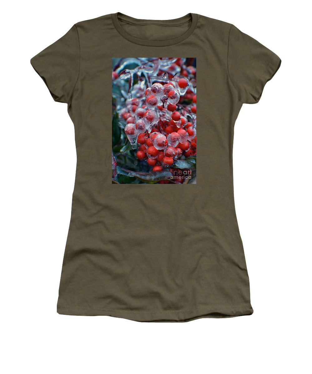 Merry Christmas Women's T-Shirt featuring the photograph Red Ice Berries by Luv Photography