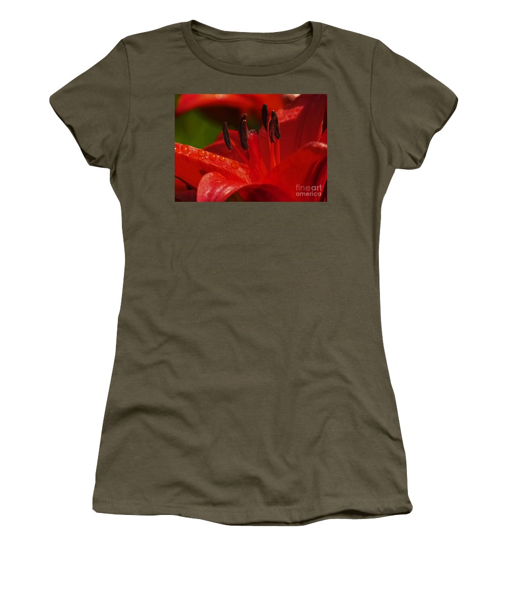 Red Lily Women's T-Shirt (Athletic Fit) featuring the photograph Red Lily Close by Sharon Talson