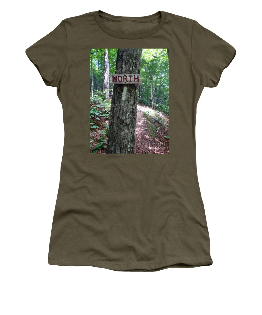 Appalachian Trail Women's T-Shirt featuring the photograph Red North Sign by Glenn Gordon