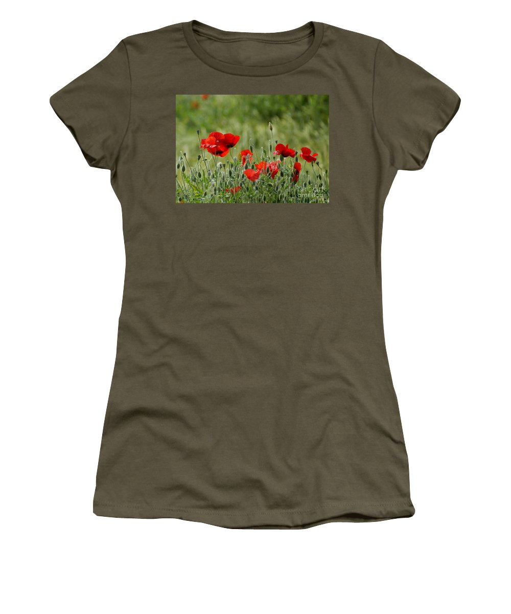Poppies Women's T-Shirt featuring the photograph Red Poppies 3 by Carol Lynch