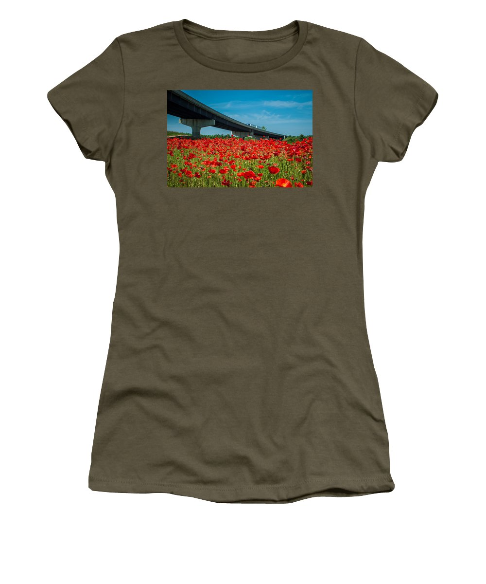 Freeway Women's T-Shirt featuring the photograph Red Poppy Field Near Highway Road by Alex Grichenko