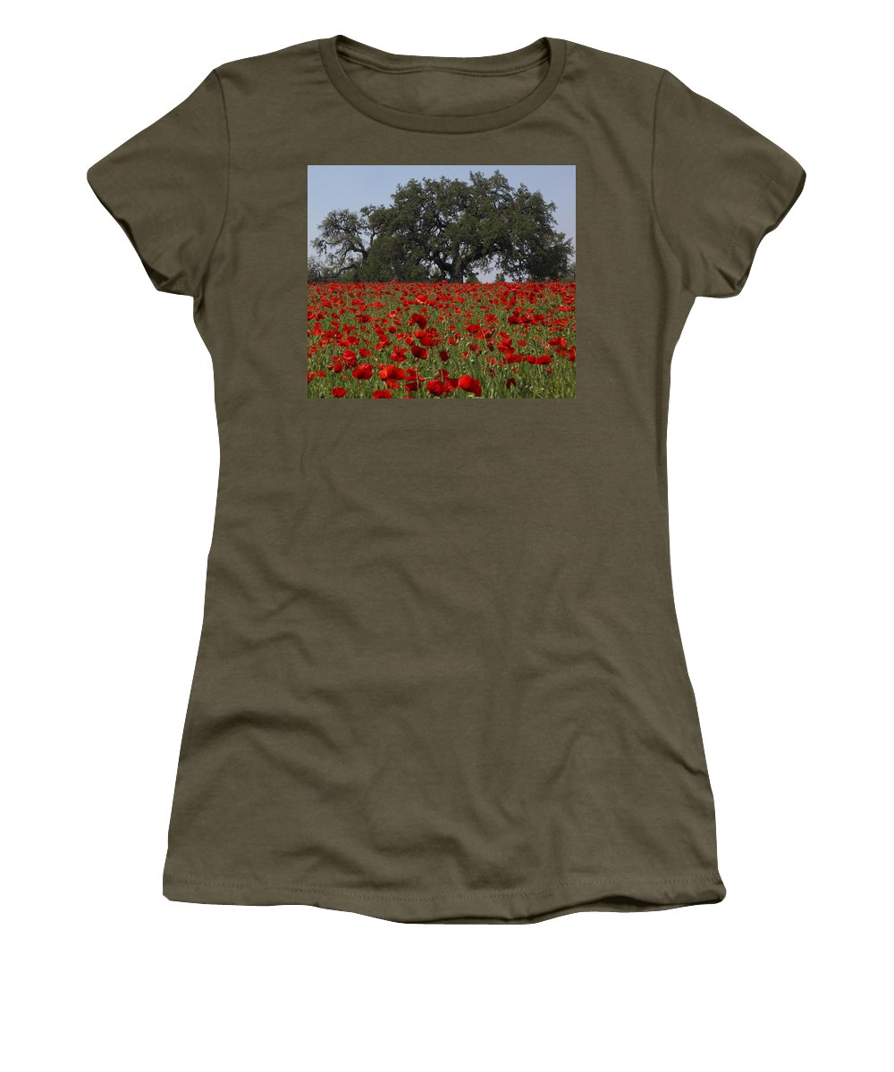 Texas Women's T-Shirt (Athletic Fit) featuring the photograph Red Poppy Field by Susan Rovira