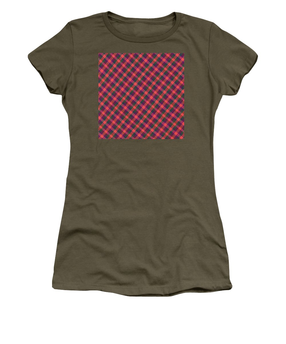 Plaid Fabric Women's T-Shirt (Athletic Fit) featuring the photograph Red Purple And Green Diagonal Plaid Textile Background by Keith Webber Jr