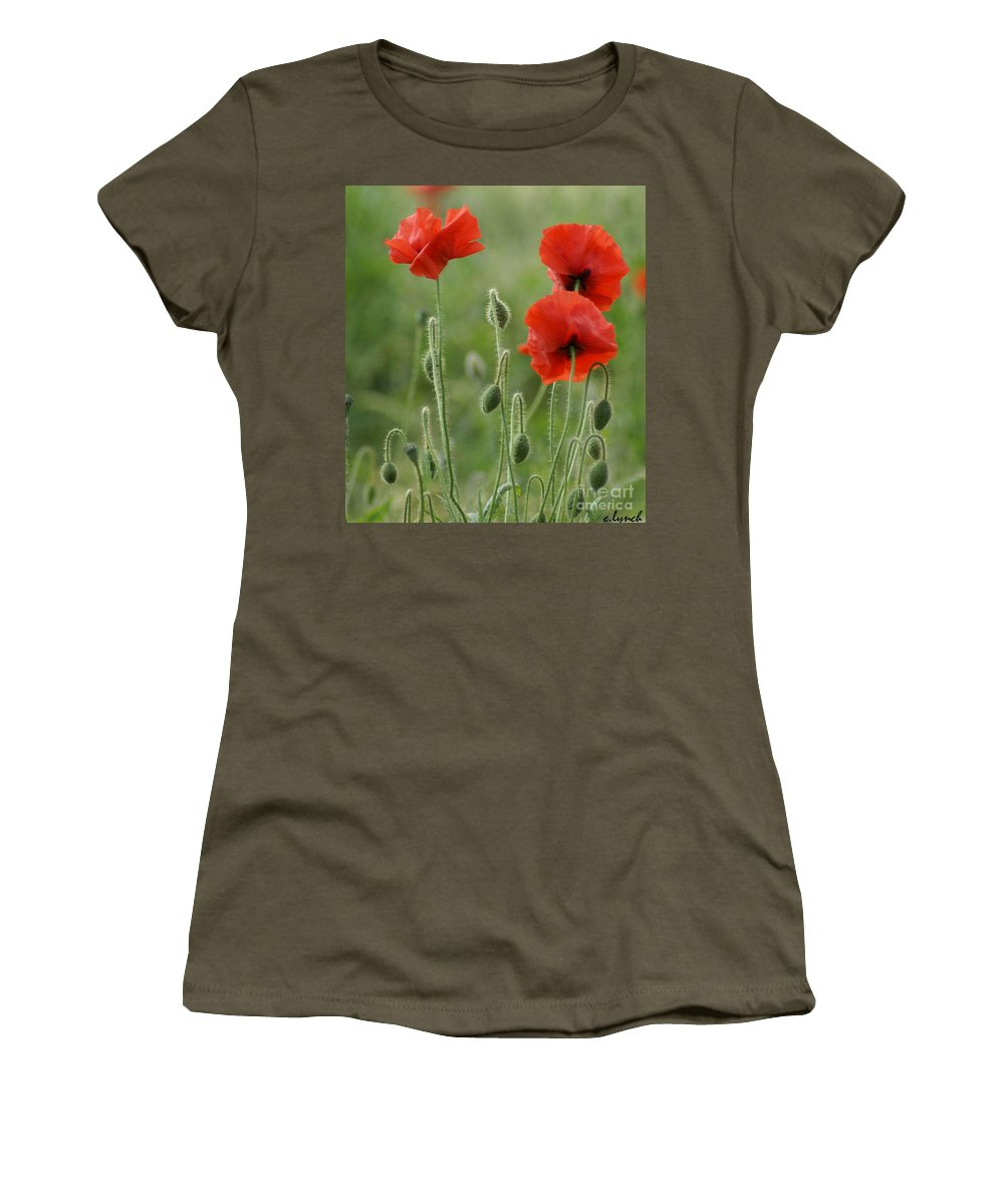 Poppies Women's T-Shirt featuring the photograph Red Red Poppies 1 by Carol Lynch