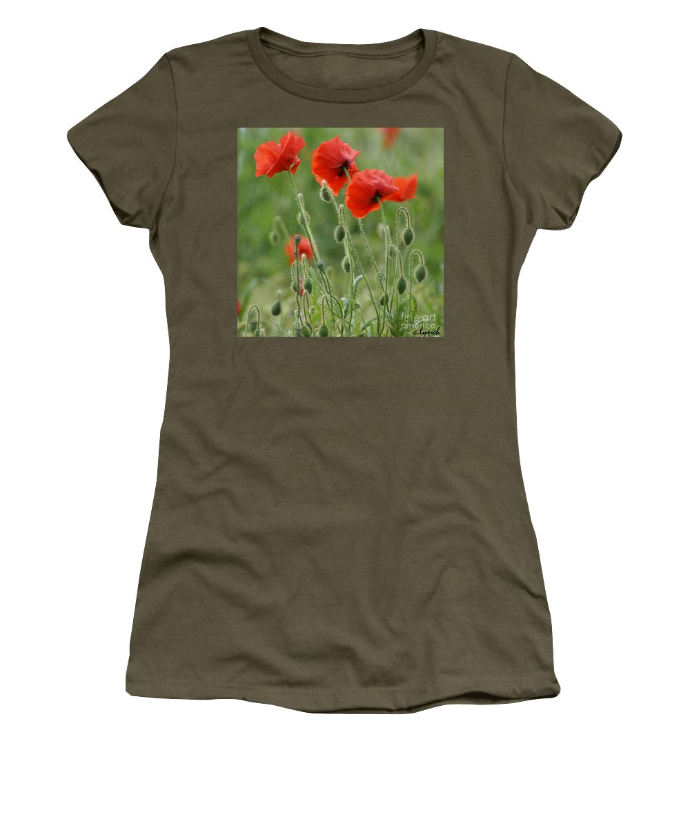 Poppies Women's T-Shirt featuring the photograph Red Red Poppies 2 by Carol Lynch