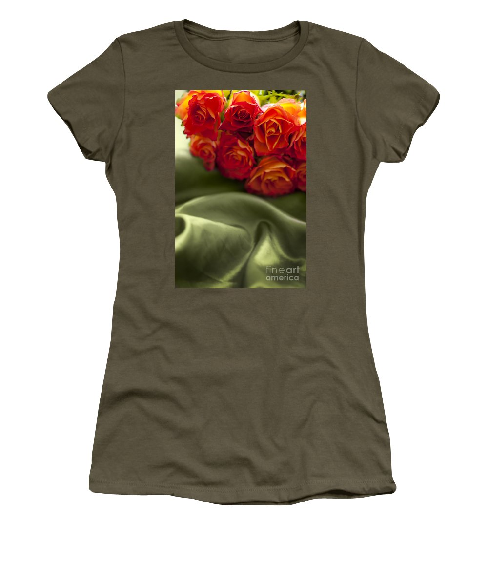 Roses Women's T-Shirt (Athletic Fit) featuring the photograph Red Roses On Green Silk by Lee Avison