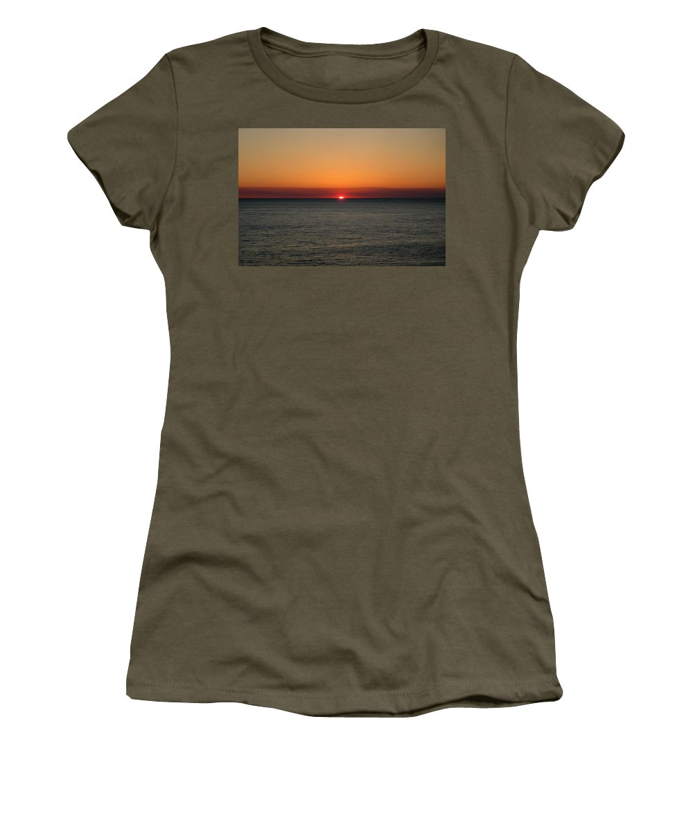 Beach Women's T-Shirt (Athletic Fit) featuring the photograph Red Sky At Night by Roe Rader