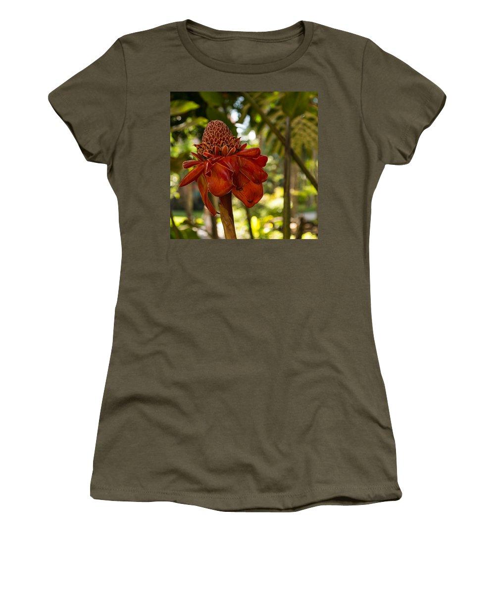 Georgia Mizuleva Women's T-Shirt featuring the photograph Red Torch Ginger Lily In Hawaii by Georgia Mizuleva