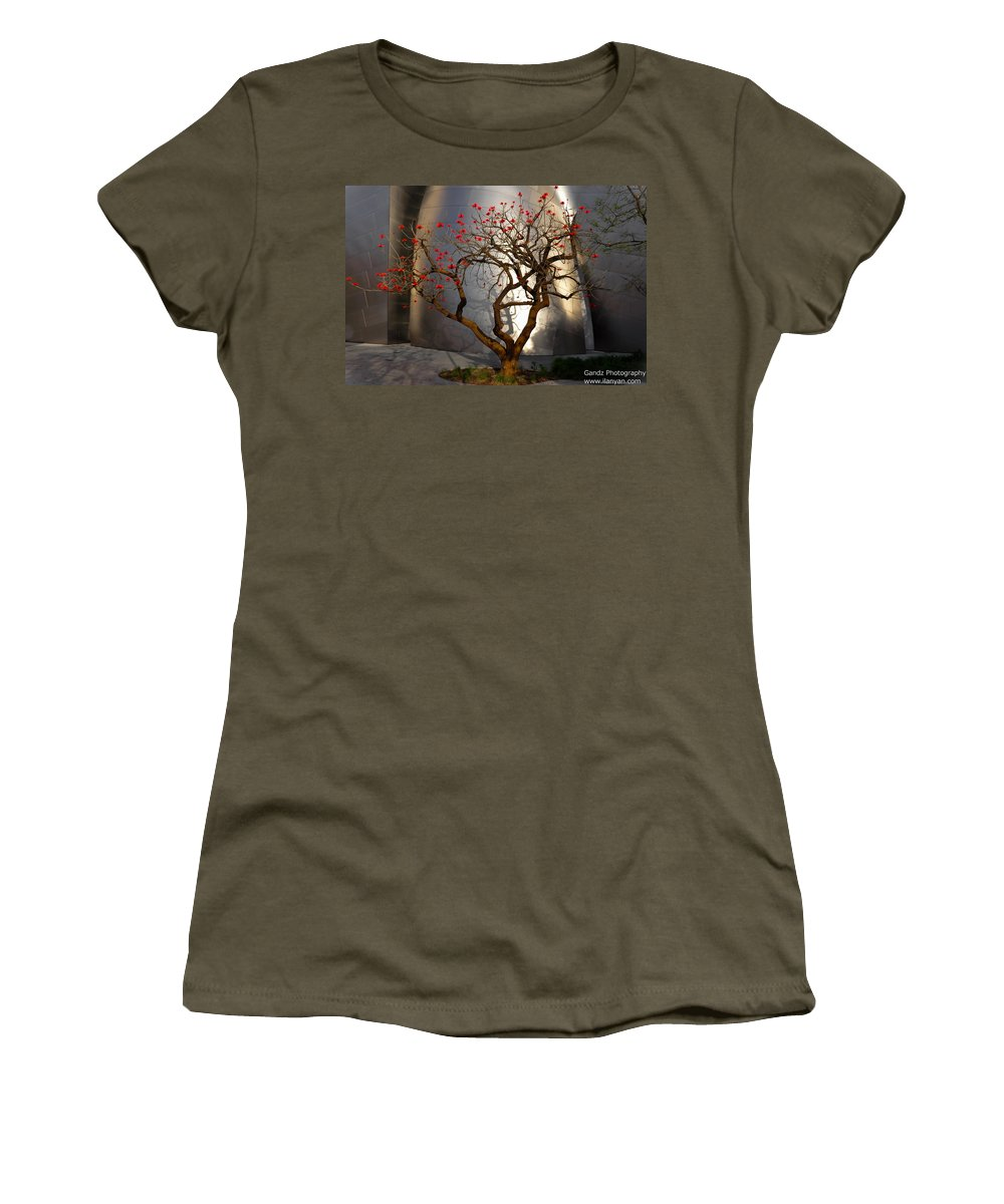 Red Tree Women's T-Shirt (Athletic Fit) featuring the photograph Red Tree by Gandz Photography