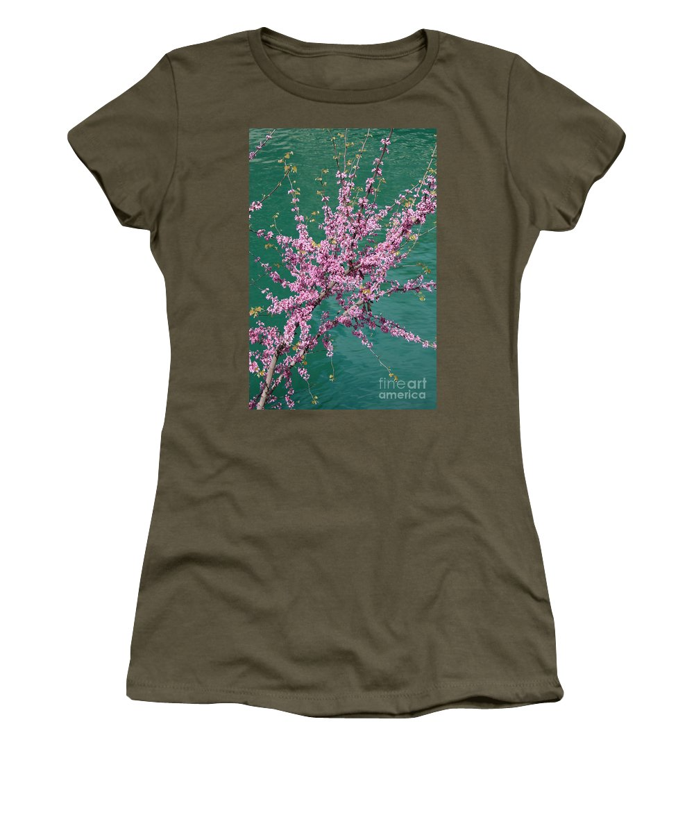 Redbud Women's T-Shirt (Athletic Fit) featuring the photograph Redbuds Over San Antonio River by Carol Groenen