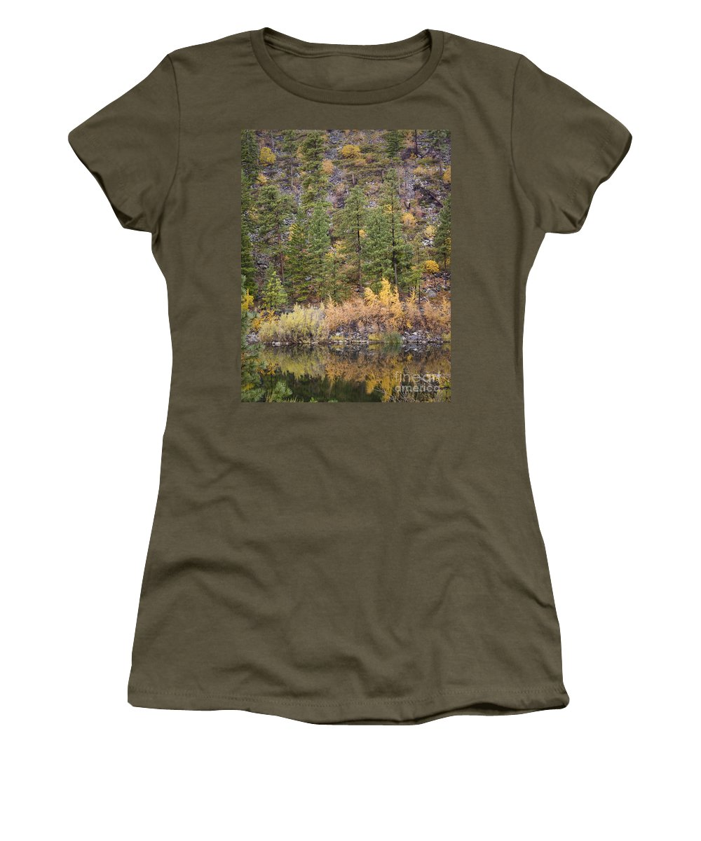 Tree Women's T-Shirt (Athletic Fit) featuring the photograph Reflect Autumn by Andrea Goodrich