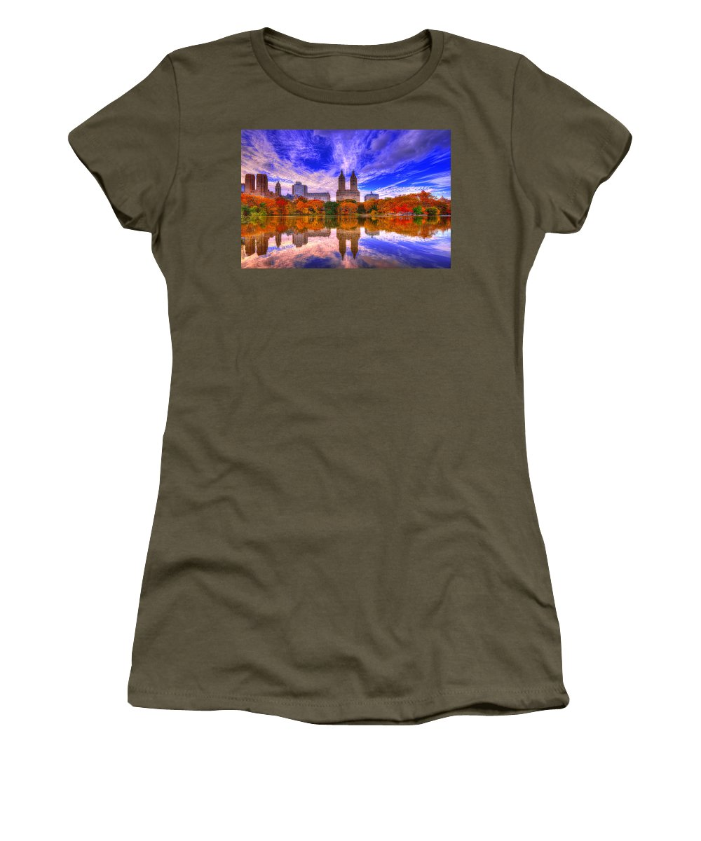 New York Women's T-Shirt featuring the photograph Reflection Of City by Midori Chan