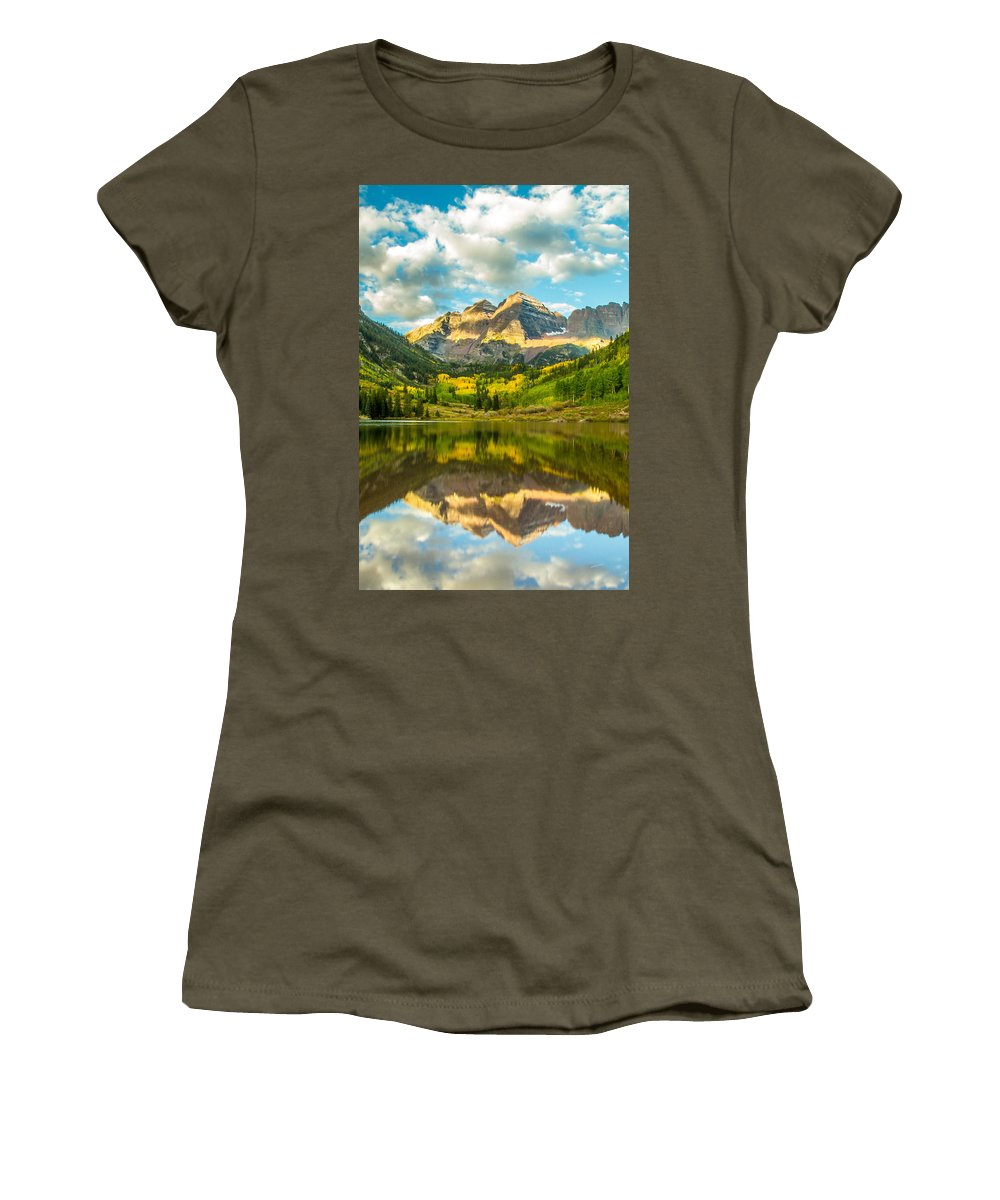 Maroon Bells Women's T-Shirt featuring the photograph Reflection Of Maroon Bells by Jeff Stoddart