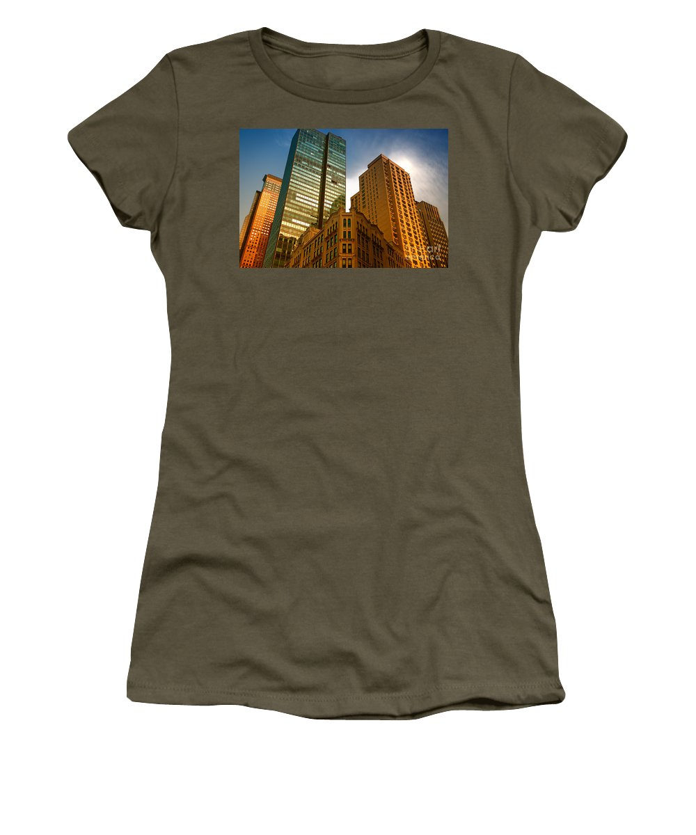 Architecture Women's T-Shirt featuring the photograph Reflections On Buildings Nyc by Amy Cicconi