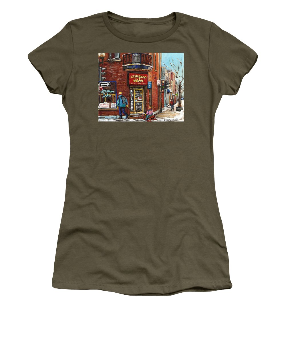 Restaurant John Women's T-Shirt featuring the painting Restaurant John by Carole Spandau