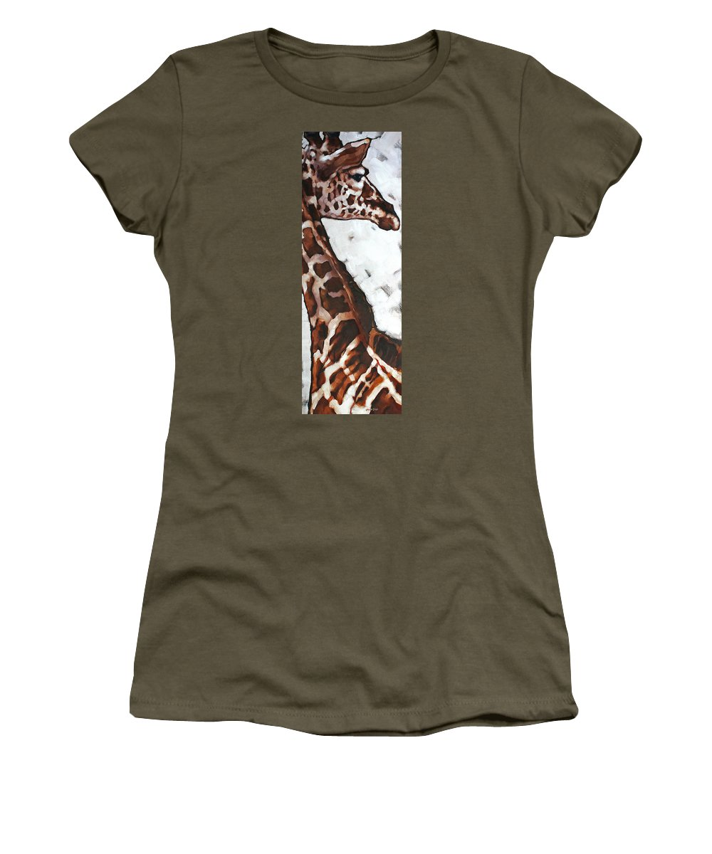 Animals Women's T-Shirt featuring the painting Reticulated Giraffe by Carrie Cook