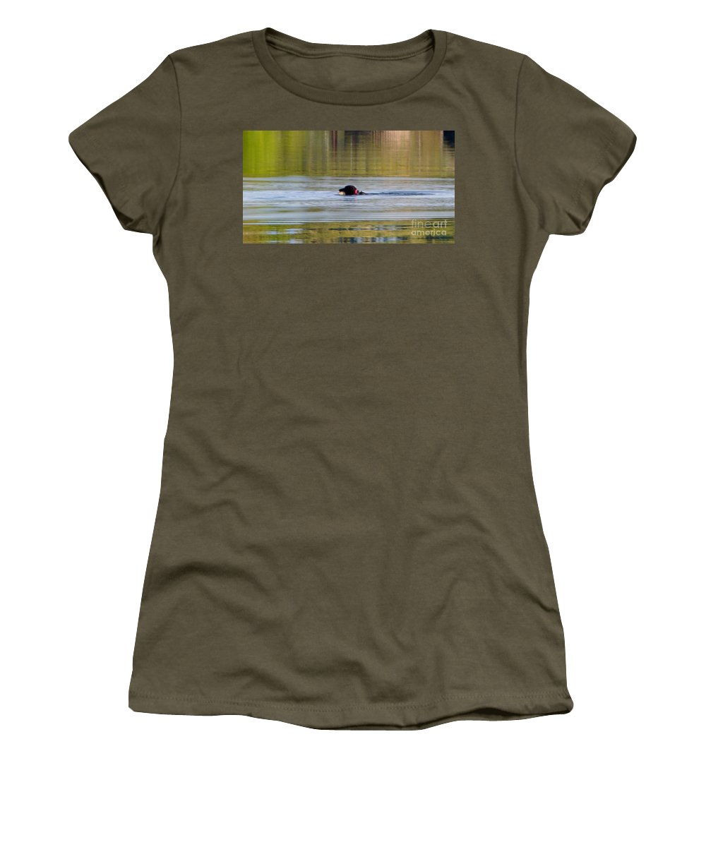 Dog In The River Women's T-Shirt featuring the photograph Retrieving My Toy by Susan Garren