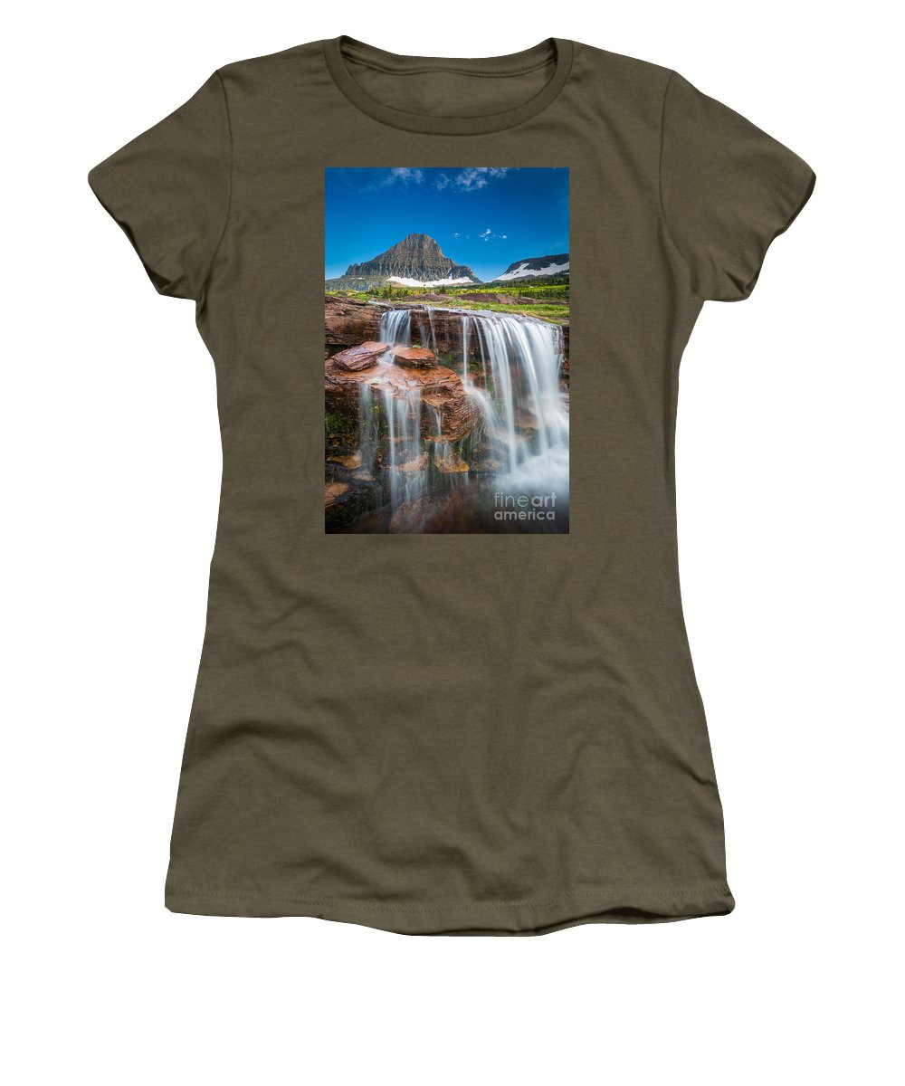America Women's T-Shirt featuring the photograph Reynolds Mountain Falls by Inge Johnsson