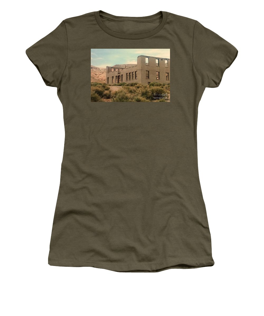 School Women's T-Shirt featuring the photograph Rhyolite Stone School by Lisa Byrne