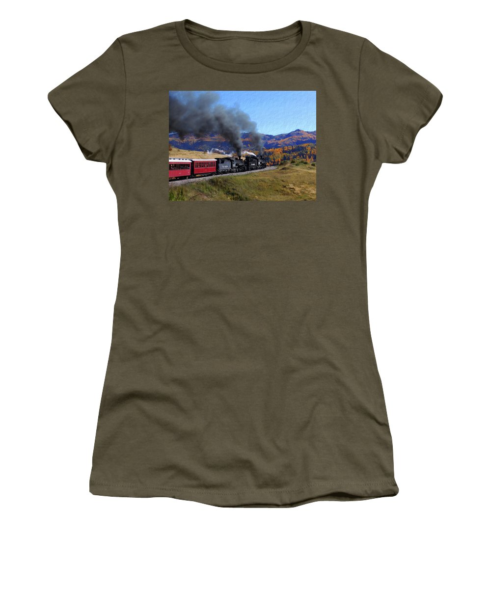 Railroad Women's T-Shirt featuring the photograph Rio Grande 488 And 489 by Kurt Van Wagner