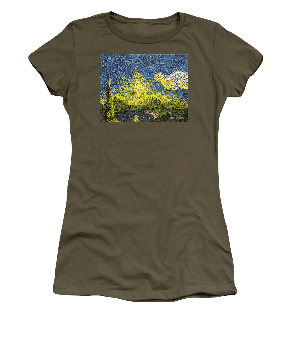 Landscape Women's T-Shirt featuring the painting Rising Above by Stefan Duncan