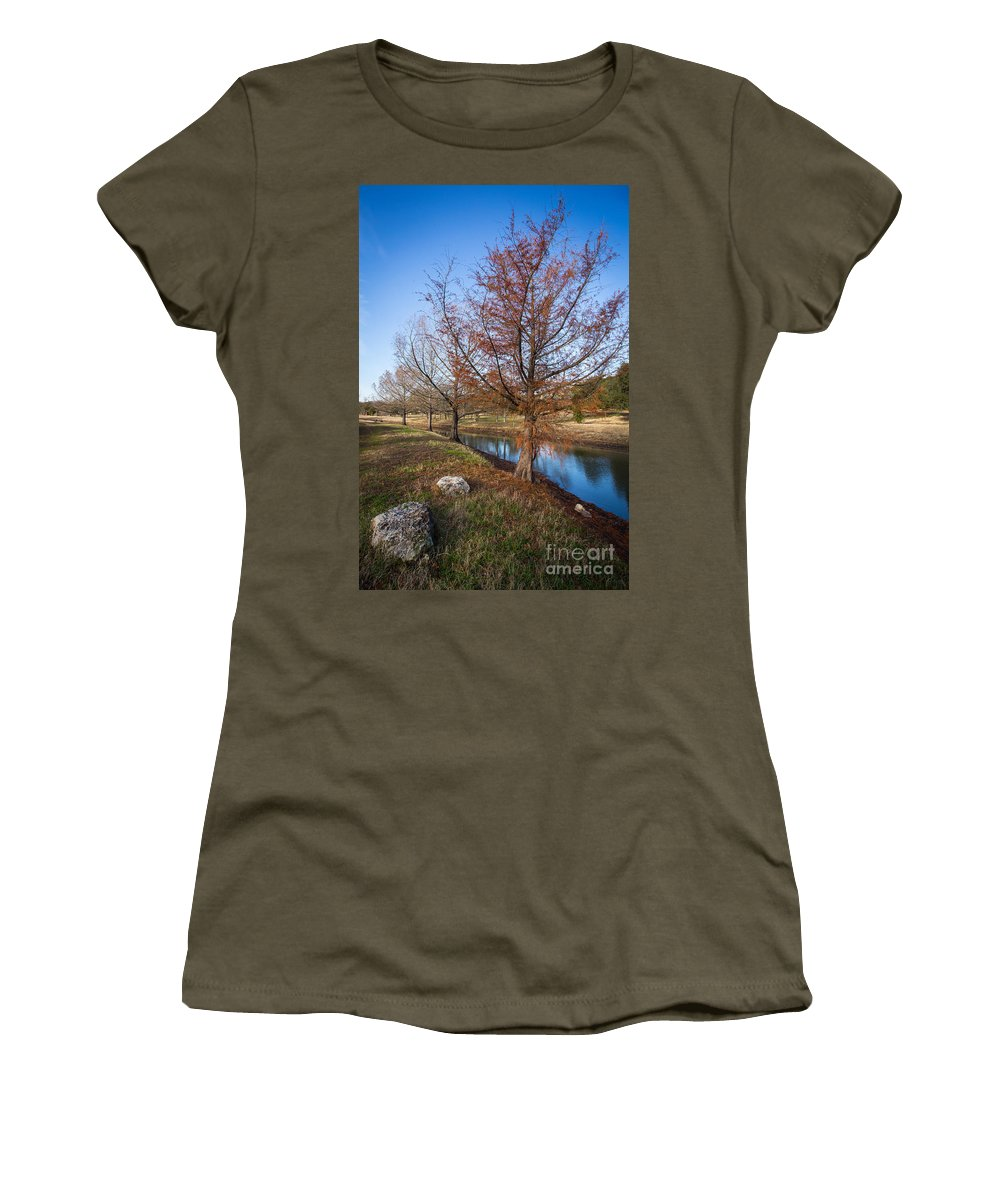 Austin Women's T-Shirt (Athletic Fit) featuring the photograph River And Winter Trees by John Wadleigh