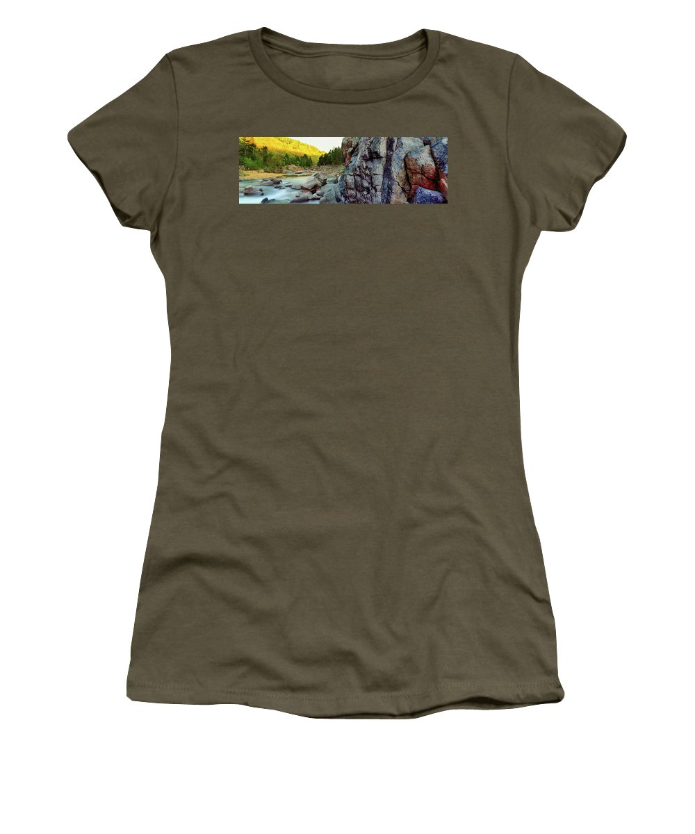 Photography Women's T-Shirt featuring the photograph River Flowing Through Rocks, Black by Panoramic Images