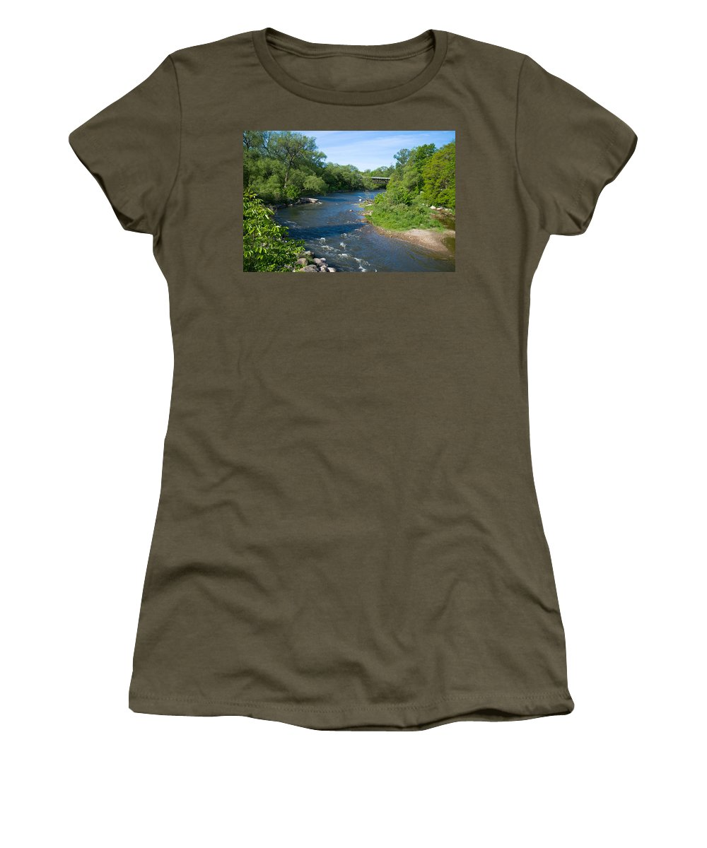 Photography Women's T-Shirt featuring the photograph River Passing Through A Forest, Beaver by Panoramic Images