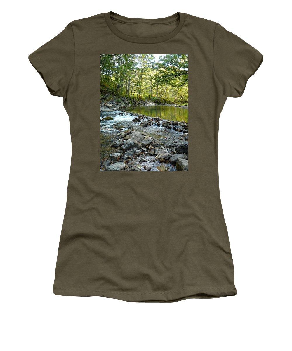Bullpasture Gorge Women's T-Shirt featuring the photograph River Rocks by Two Bridges North