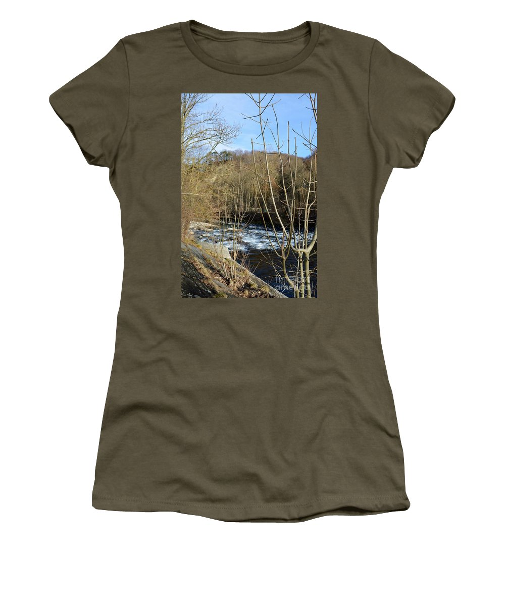 Landscape Women's T-Shirt featuring the photograph River Waterfall by Felicia Tica
