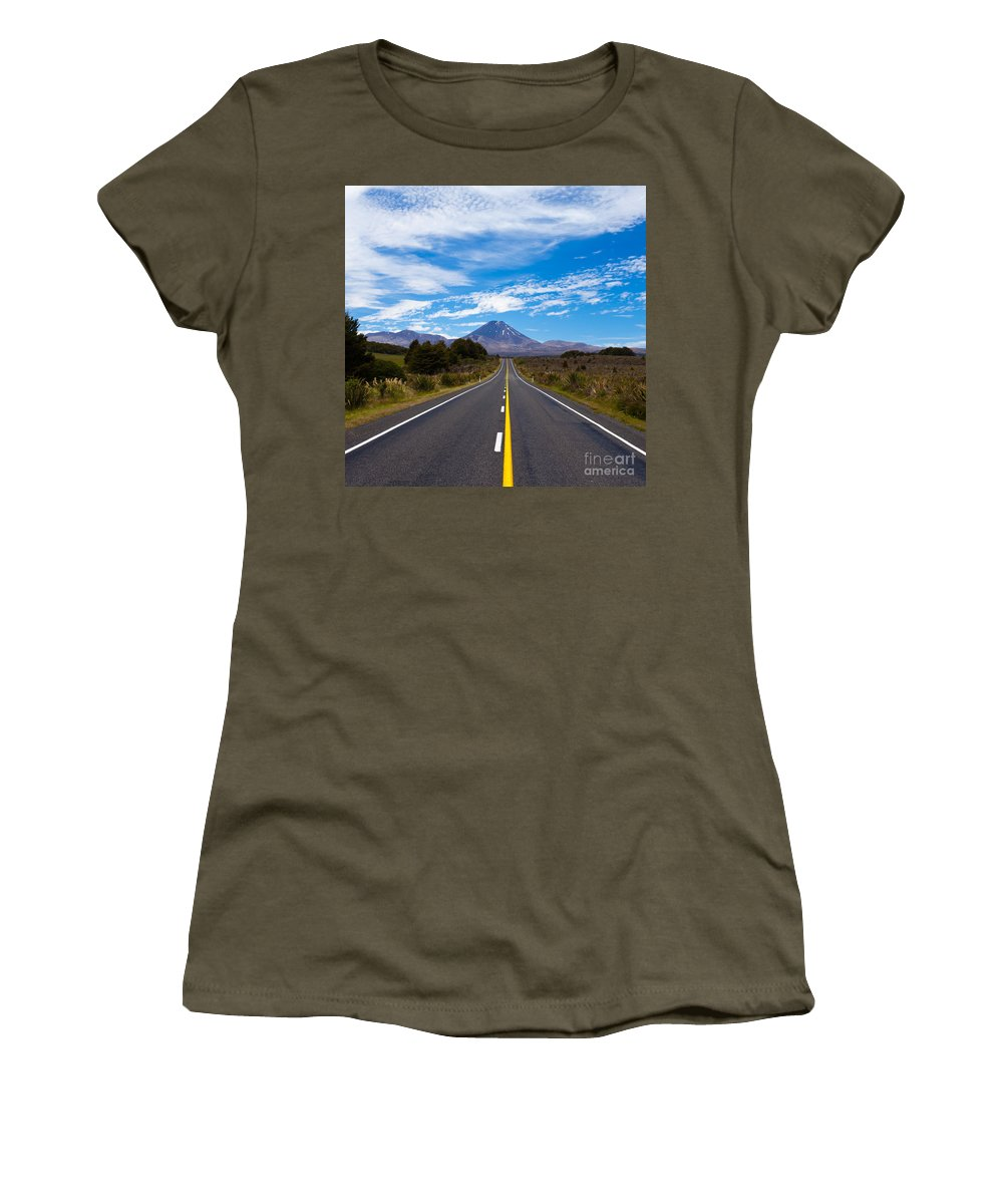 Mount Women's T-Shirt (Athletic Fit) featuring the photograph Road Leading To Active Volcanoe Mt Ngauruhoe Nz by Stephan Pietzko