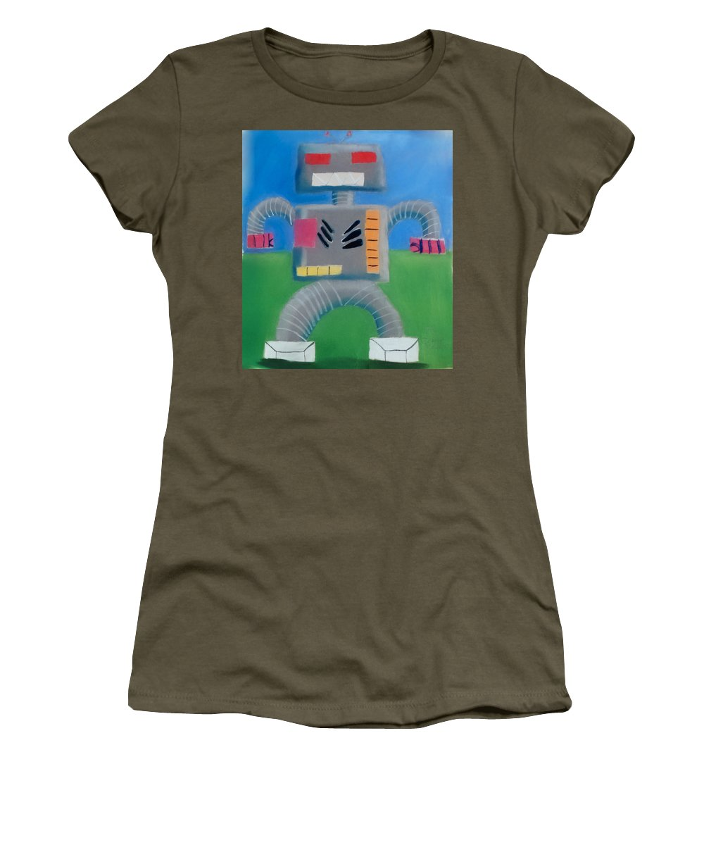 Robot Women's T-Shirt featuring the pastel Metallic by Joshua Maddison