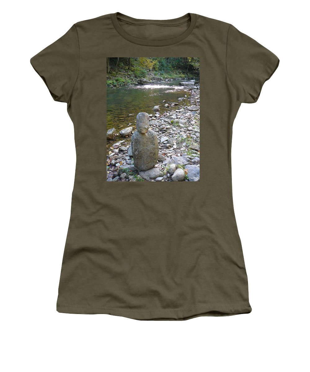 Bullpasture Gorge Women's T-Shirt featuring the photograph Rock Man by Two Bridges North