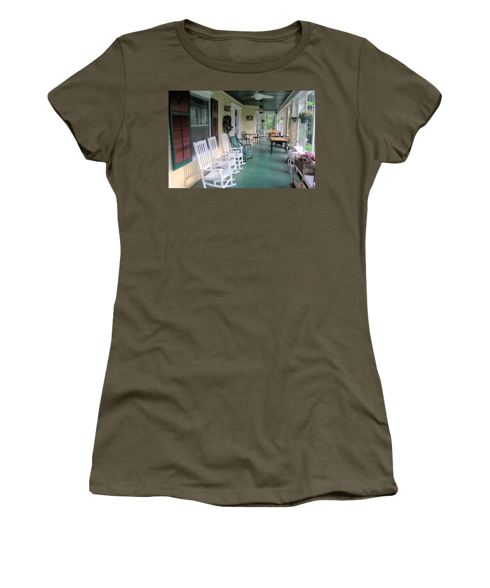 5958 Women's T-Shirt featuring the photograph Rockers On The Porch by Gordon Elwell