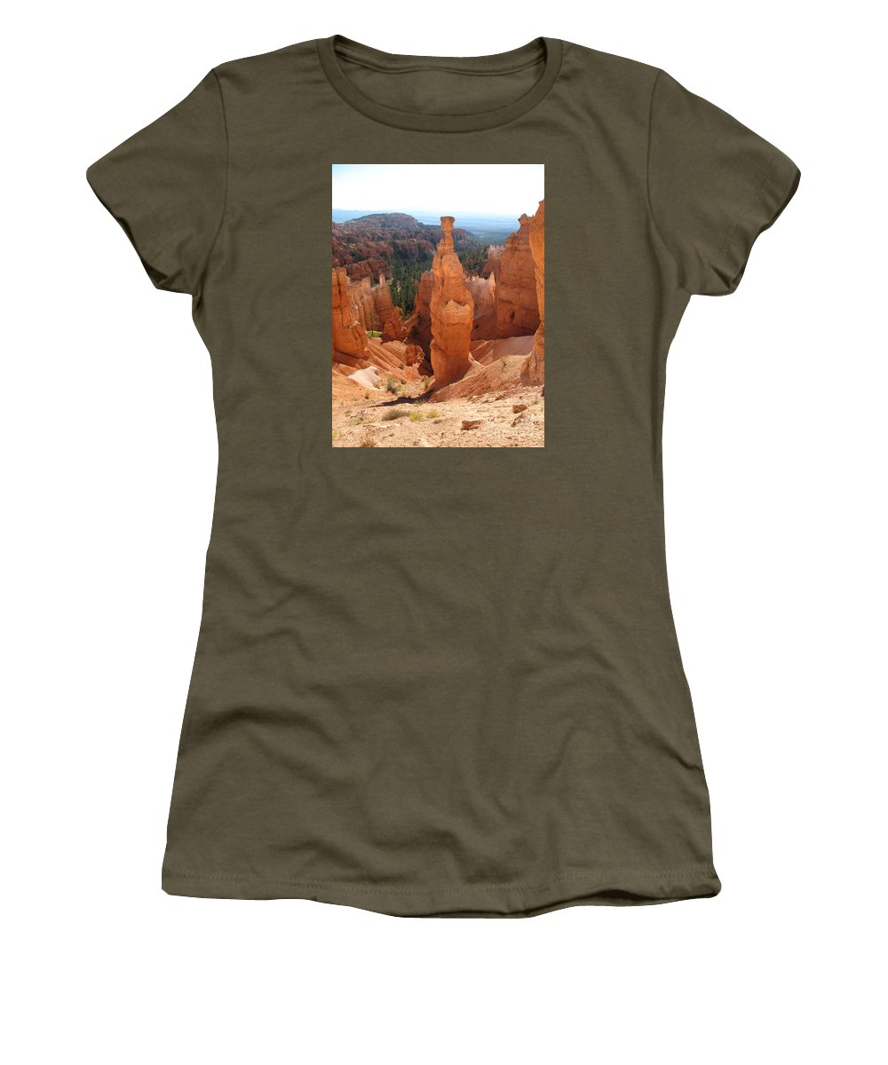 Rocks Women's T-Shirt featuring the photograph Rockformation Bryce Canyon by Christiane Schulze Art And Photography