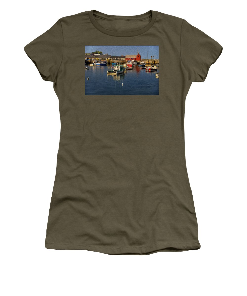 Atlantic Ocean Women's T-Shirt featuring the photograph Rockport Harbor No.3 by Mark Myhaver