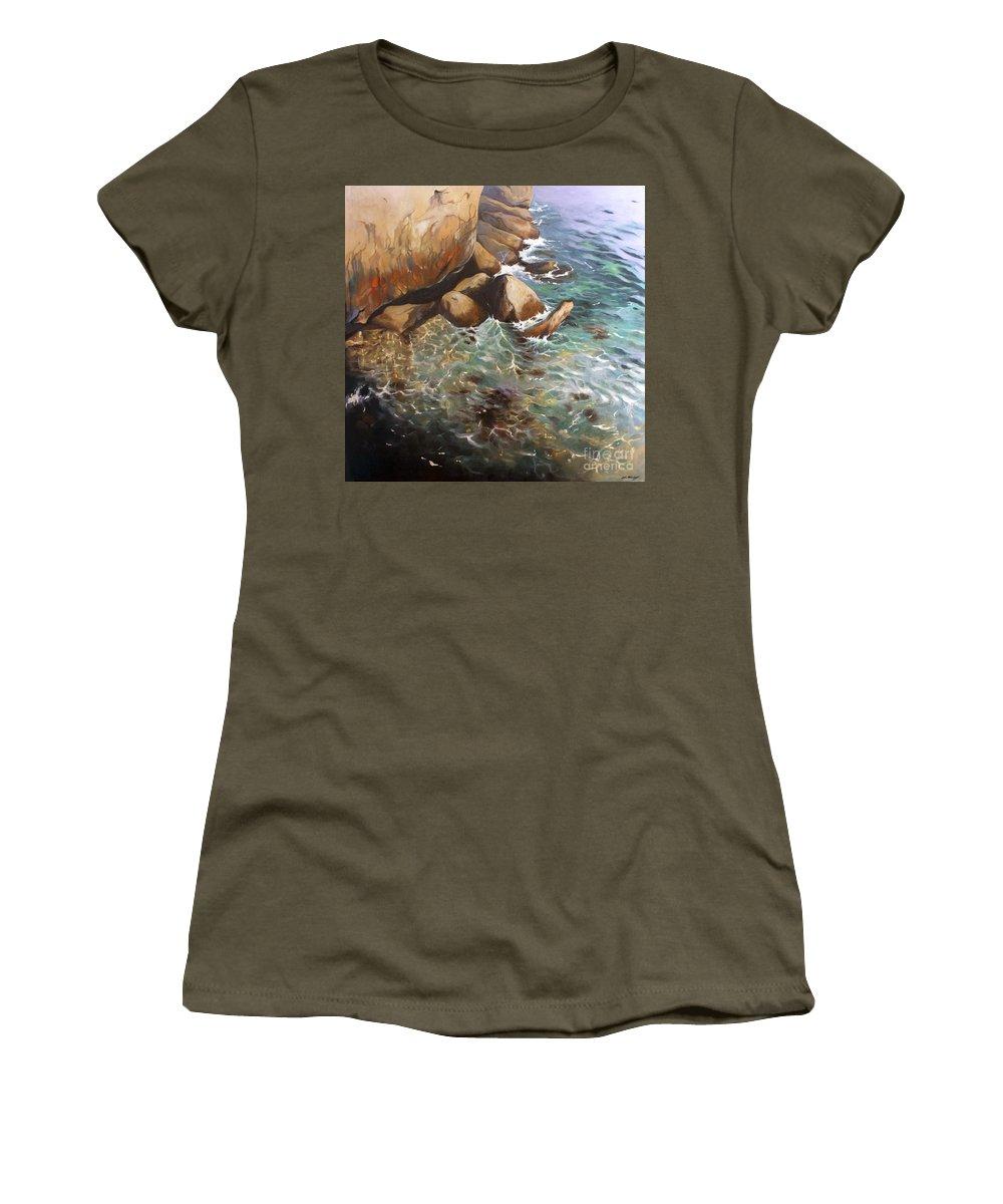 Lin Petershagen Women's T-Shirt featuring the painting Rocky Shore by Lin Petershagen
