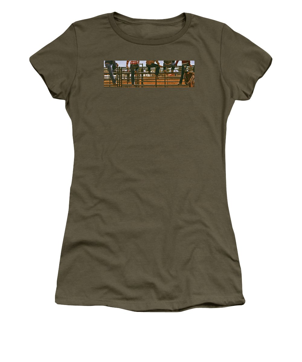 Rodeo Women's T-Shirt featuring the photograph Rodeo Fence Sitters- Warm Toned by Priscilla Burgers
