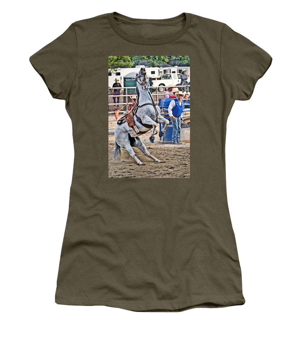 Roping Women's T-Shirt featuring the photograph Rodeo Horse Cheers by Gary Keesler