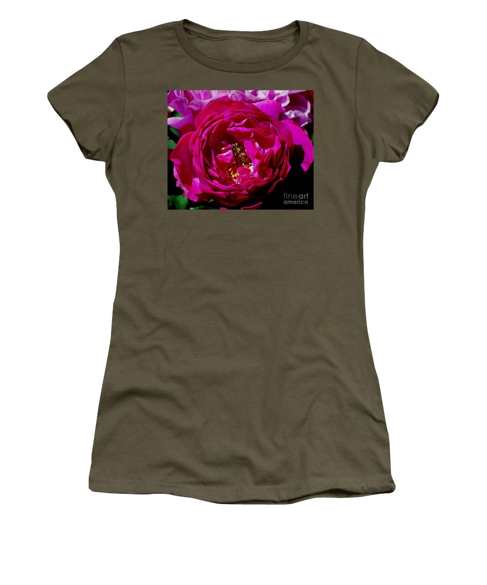 Rose Women's T-Shirt featuring the photograph Rolling In The Pollen by Sharon Elliott