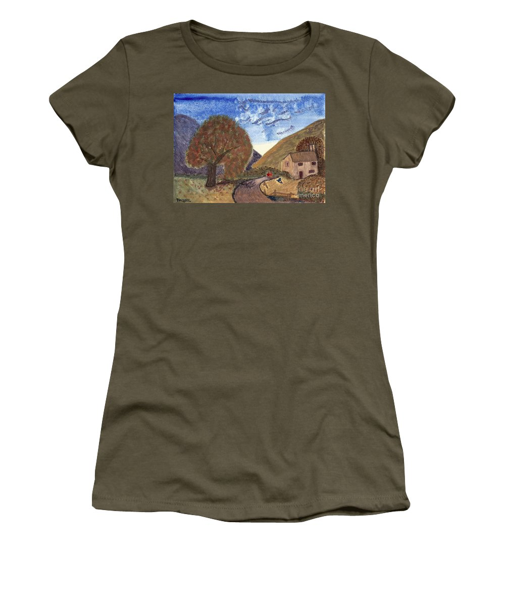 Romantic Walk Women's T-Shirt featuring the painting Romantic Walk by Tracey Williams
