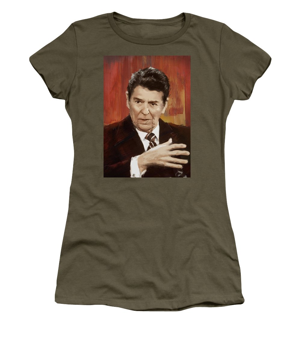 Rancho Del Cielo Women's T-Shirt featuring the painting Ronald Reagan Portrait 2 by Corporate Art Task Force