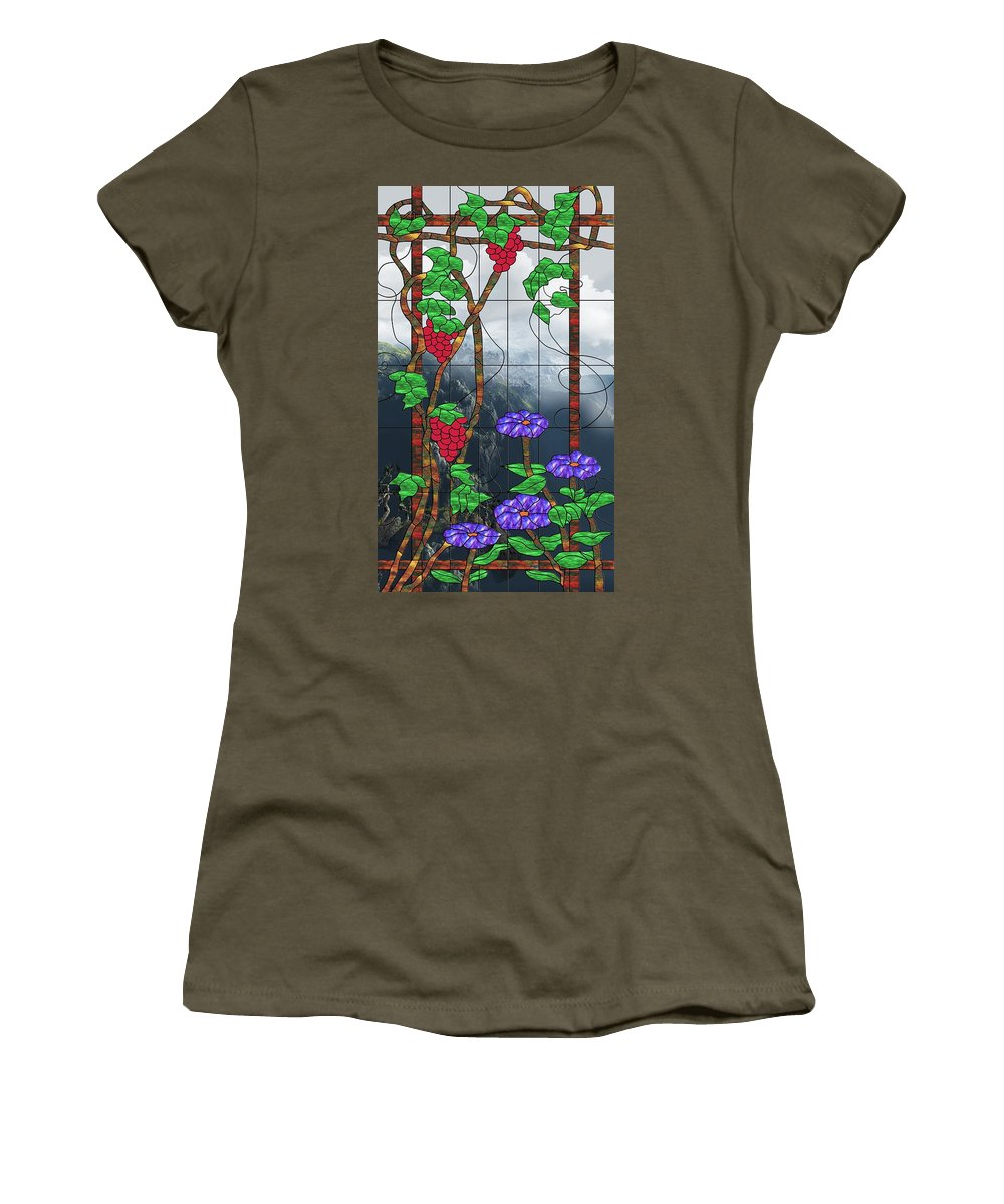Room With A View Women's T-Shirt featuring the mixed media Room With A View by Georgiana Romanovna