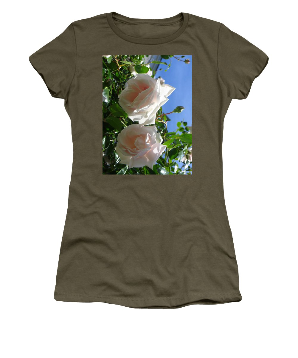 A Pair Of White Roses Women's T-Shirt (Athletic Fit) featuring the photograph Rose Duo by Sonali Gangane