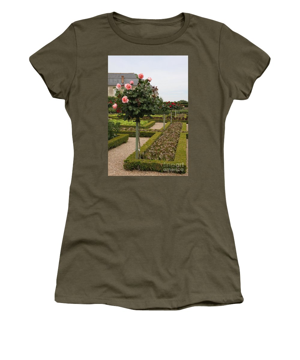 Roses Women's T-Shirt featuring the photograph Roses And Salad - Chateau Villandry by Christiane Schulze Art And Photography